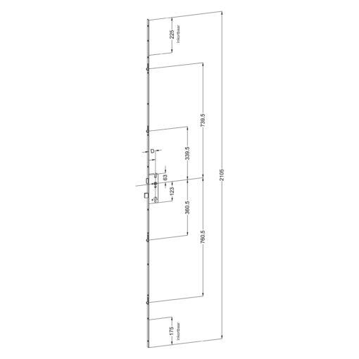 Winkhaus R4 meerpuntssluiting met 4 rolnokken - Technische tekening