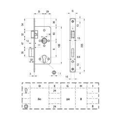 DOM Loopslot Classic-Line - Technische tekening