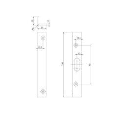 KFV 2317 sluitplaat hoek voor pin - Technische tekening