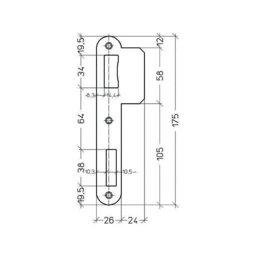 Litto PA09021 00 sluitplaat voor 90 reeks - Technische tekening