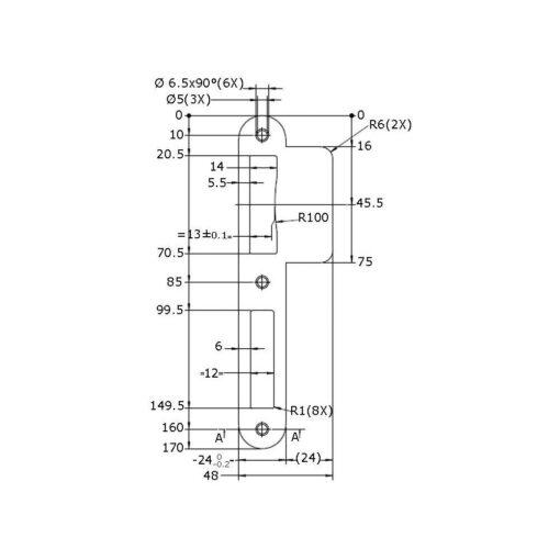 Litto PC080 sluitplaat - Technische tekening