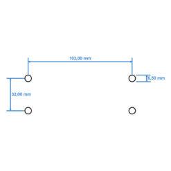 Technische tekening bevestigingsgaten BKS OTS 80 deurpomp